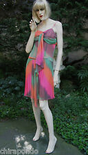 Kleid Diane von Fürstenberg DVF Gr. 40 orange rot grün fraise Plissee topaktuell
