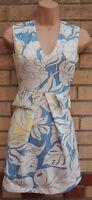 ZARA WHITE LIGHT BLUE YELLOW FLORAL V NECK A LINE TAILORED MINI SKATER DRESS S