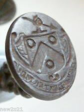 Georgian Intaglio wax Seal Fob Armorial Crest Hand Spear motto My Right Hand
