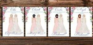 Will You Be My Bridesmaid Cards Personalised HAIR OPTIONS COMPLETE with Envelope