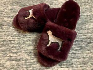 Victoria's Secret Pink Furry Slippers Luscious Plum Silver Dog Logo M 7 8 NIP