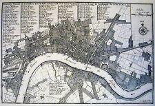 Carte antique, plan des villes de Londres et de Westminster