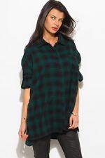 Women's Plaid Flannel Boyfriend Oversized Button-Down Cotton Tunic Shirts NEW