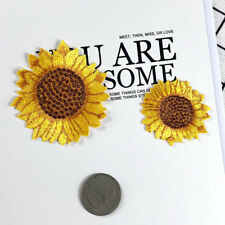 2pc Small Sunflower Patch Yellow Flower DIY Sticker Embroidered Applique Patches