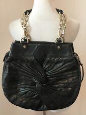 $540 alexis hudon amour black leather gold chain shoulderbag handbag purse