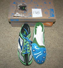 NEW $100 Brooks WIRE 2 Running TRACK SPRINT Shoe SPIKES blue GREEN 10.5 / 44.5