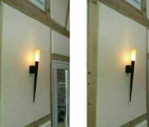 2x MEDITERRANE Fackelleuchte LED WANDLEUCHTE Fackel WANDLAMPE Landhaus ANTIK M
