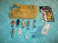VINTAGE STAR WARS JAWA PLAYSET w/ ESCAPE POD, 7 FIGURES, CARDBACK, and MORE