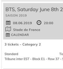 BTS TICKETS PARIS ! ( 3 ticketsnext to eachtother.