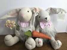 Cotton And Co Bunny Girl Boy Set Of 2 Plush Weighted Decorations Rabbit Bunnies
