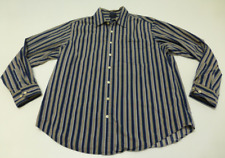 Gap Mens Size XL (17-17.5) Blue Brown Striped Classic Fit Shirt Great Condition