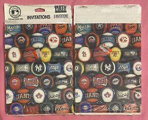 Vintage Lot 2 MLB Logos Invitations Party Express Hallmark 8 Each 1998 Free Ship