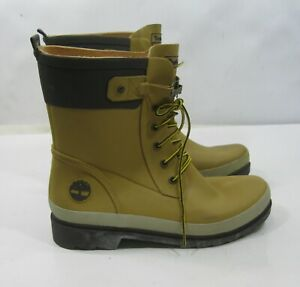 3665R  Timberland TAN Rubber Rain Boots ANKLE Lace-Up Women Size  7