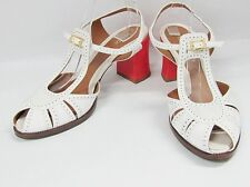 FENDI CHAMELEON ANKLE T-STRAP WHITE PATENT LEATHER SANDALS 10 40 CHUNKY HEEL