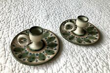 Vintage Hand Painted Terracotta Candlestick Holders - Set of 2