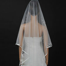 White Ivory Cathedral Wedding Veil Lace Applique Edged Bridal Veil w/ Metal Comb