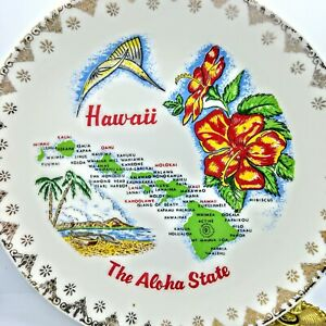 Vintage Hawaii Souvenir Collector Plate Map Cities Graphics Aloha State 7.25""
