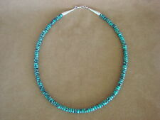 Native American Jewelry Hand Strung Single Strand 6 MM Turquoise Rondell Necklac