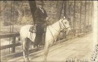 Cashmere WA 1916 Man on Horse on Bridge Dell Hubbs Real Photo Postcard