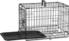 Single-Door Dog cage Folding Metal for Dog or Pet Crate Kennel with Tray