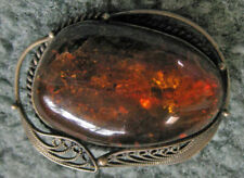 Vintage BALTIC AMBER PIN BROOCH with Silver Trim