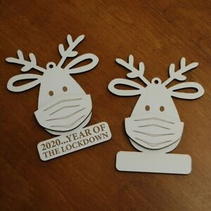 Personalised White Faced MDF Christmas Bauble - Deer 2020 Lockdown Face Mask