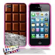 COQUE iPHONE 4 4S LE CHOCOLAT SILICONE ROSE SOUPLE (TPU) + 3 FILMS OFFERT