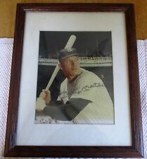 """VINTAGE """"MICKEY MANTLE"""" SIGNED FRAMED AUTOGRAPH PICTURE. (HM)"""