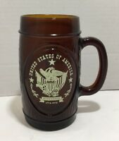 Bicentennial  Mug 1776-1976 United States of America w/ Eagle, Brown Glass, NEW