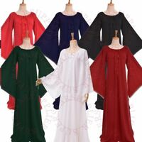 Medieval Flare Long Sleeve Dress Women Ruffled Neckline Dress Gothic Lace Gown