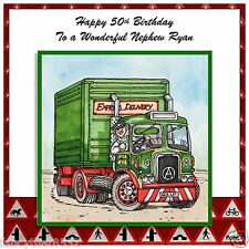 Mens Handmade Personalised Birthday Card Truck Lorry Driver Wheels Tyres ANY AGE