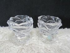 Partylite Set of Two Clear Crystal Rose Shaped #P7295 Votive Candleholders