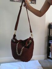 Rebecca Minkoff Flatter Drawstring Burgundy purse gold 10OISUCF22-609 Suede