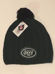 New York Jets Womens Knit Pom Hat NFL Jets Winter Hat Skully Knit Beanie AFC