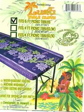 Tropical fitted picnic table Fabric Tablecloth Floral party  Luau Hawaii Purple