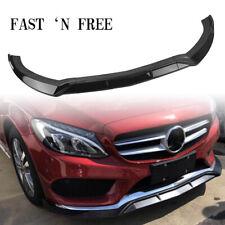Black Front Bumper Spoiler Splitter Lip For 2015-2018 Benz C-Class W205 Sport KA