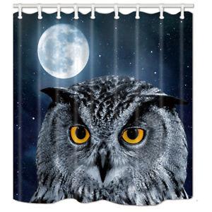 Bathroom Shower Curtain Owl & Full Moon Waterproof Fabric 71*71 inches 12 Hooks