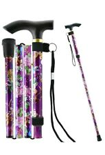 NEW ALUMINIUM LIGHTWEIGHT ADJUSTABLE WALKING STICK FLORAL EASY FOLDING LADIES UK