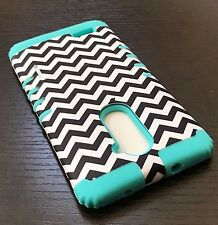 For ZTE ZMAX PRO Z981 - Hybrid Armor Impact Case Cover Mint Blue Black Chevron