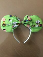 Easter Snoopy and Charlie Brown Minnie Ears Handmade Apple Green Girls Headband