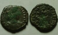 Constantius soldier spearing fallen enemy rider RARE Original Ancient Roman coin