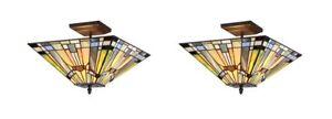 Chloe CH33293MS14-UF2 Tiffany-style 2 Light Semi-flush Ceiling Fixture - 2 Pack
