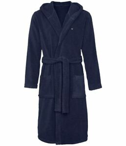 Mens Tommy Hilfiger Icon Hooded Bathrobe/ Dressing Gown - Micro Cotton Towelling