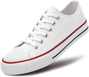 Women's Canvas Sneakers Low Top Lace-up Classic Casual Shoes White