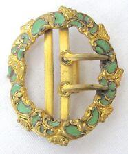 Green Enamel Highly Detailed L@K! Antique Rococo/Georgian Belt Buckle Gold