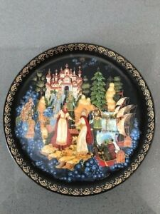 "Russian Palekh Plate ""The Legend of Tase Saltan"" Collection Series"
