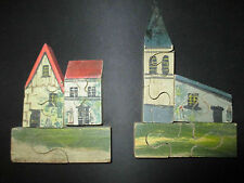 ancien original jouet jeux puzzle en bois peint fin XIX ème