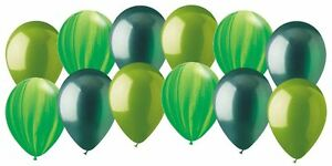 12 pc Frogs & Bugs Inspired Agate Latex Balloons Party Decoration Jungle Monster