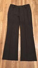 Zara Basic Wide Leg Career Dark Gray Pin Striped Pants Wool Blend Women's 4