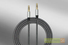 Audio Kabel Aux Klinke 3,5mm vergoldet 1m silber